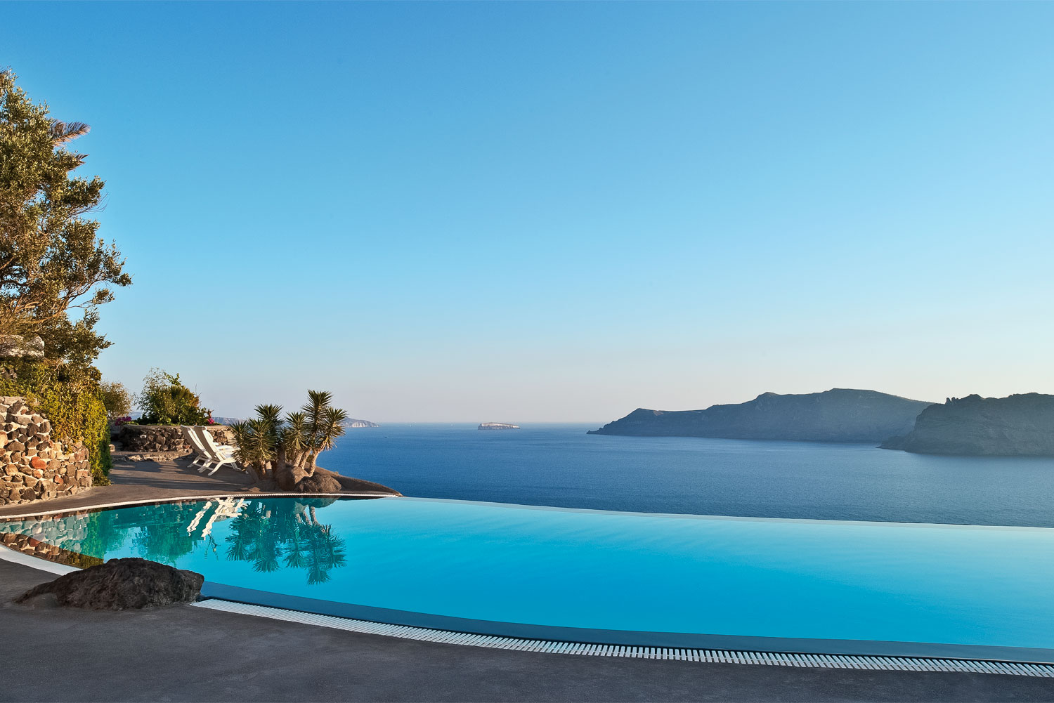 Perivolas Hotel pool in Santorini, Greece.