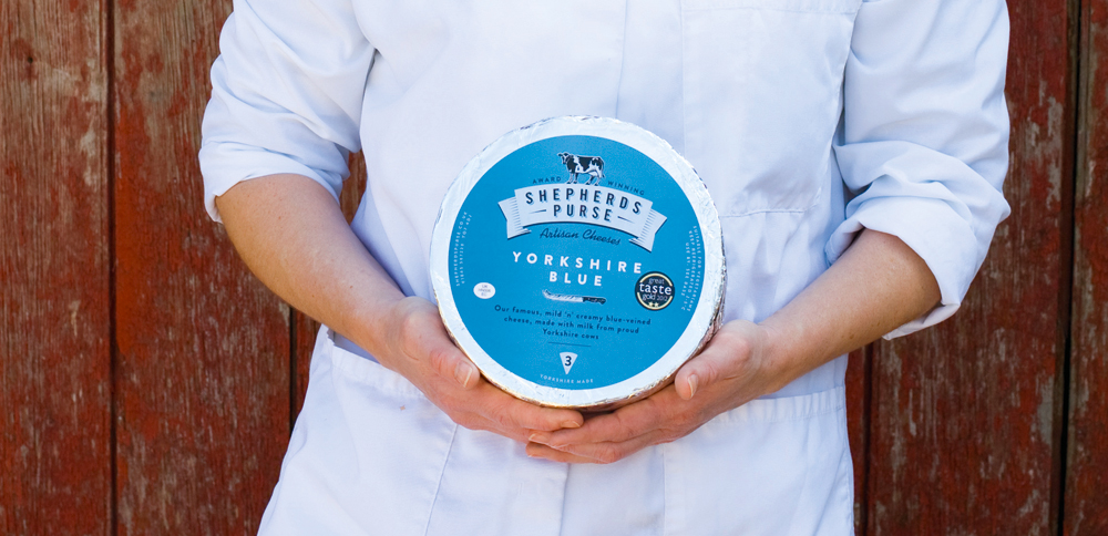 Award-winning Yorkshire Blue - a mild and creamy blue-veined cheese