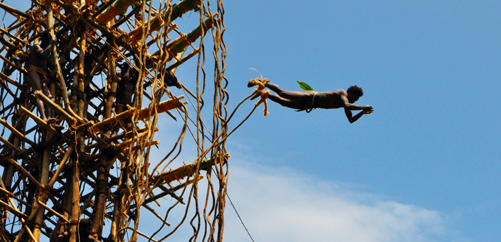 Game land diver from Pentecost Island launches off a 30-metre timber tower