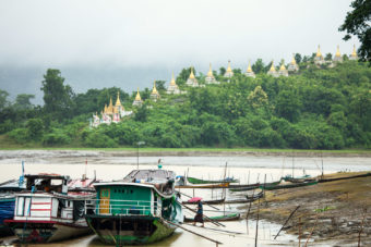 28 Buddhists stupas on the hillside at Ma Sein, overlooking Chindwin River.