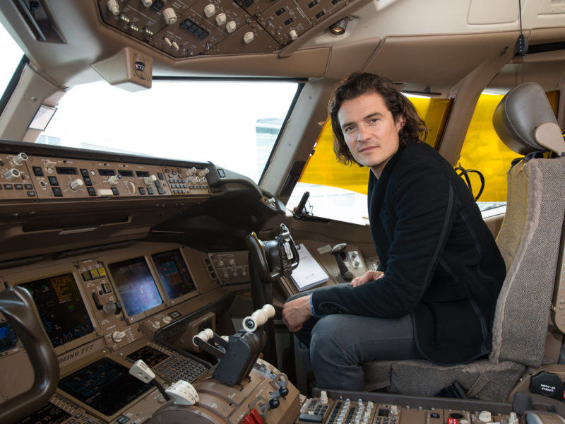 Orlando Bloom on board British Airways.