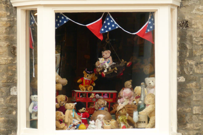 A teddy bear specialty store in an English country town.