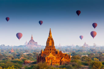Hot air ballooning over Bagan, Myanmar, ranked #64 in our countdown of '100 Ultimate Travel Experiences of a Lifetime'.
