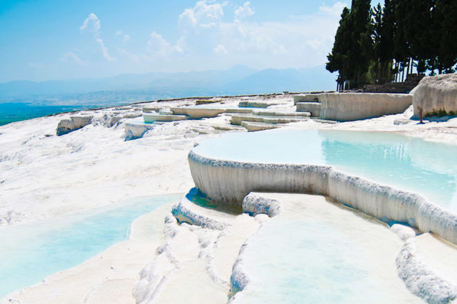 The baths of Pamukkale, Turkey, ranked #79 in our countdown of '100 Ultimate Travel Experiences of a Lifetime'.