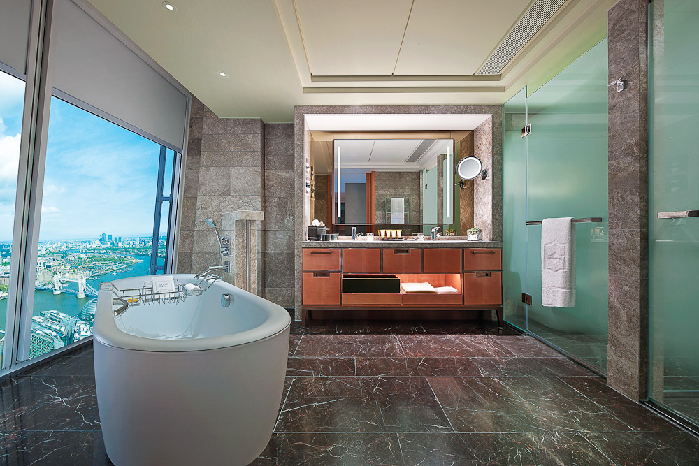 A bathroom with a view at this London-based Shangri-La Hotel