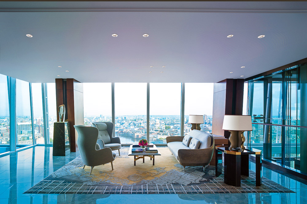Sweeping views from the understated lobby of the Shangri La Hotel in London
