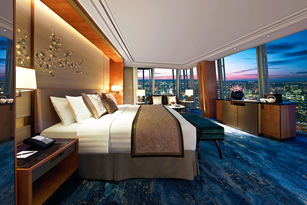 The bedroom at the Shangri La Hotel at the Shard