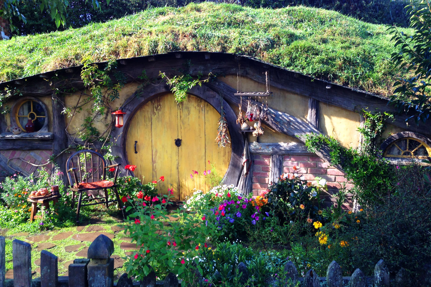 'Hobbiton' or 'The Shire', featured on the set of The Hobbit and the Lord of the Rings trilogy.