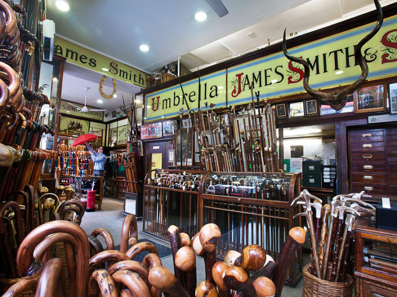 James Smith and Sons specialty umbrella store in London, England.