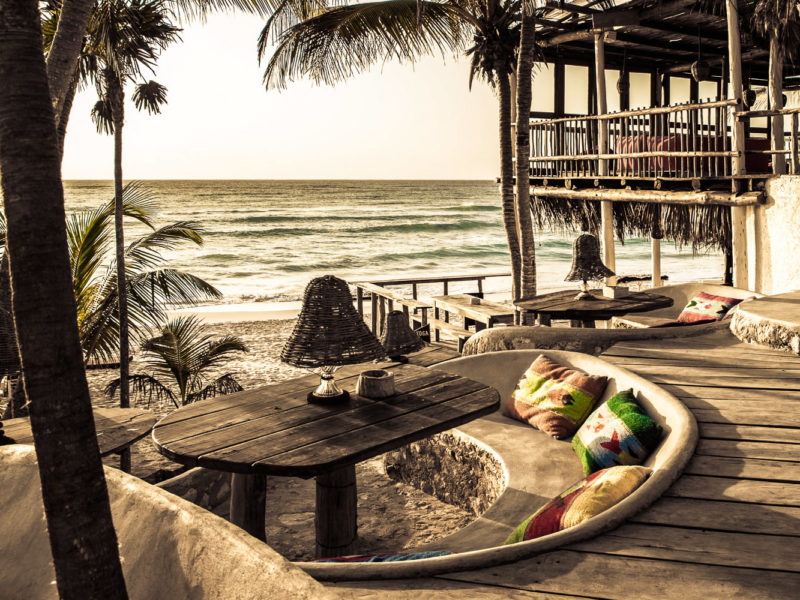 Beach bar and lounge at Papya Playa Project in Tulum, Mexico.