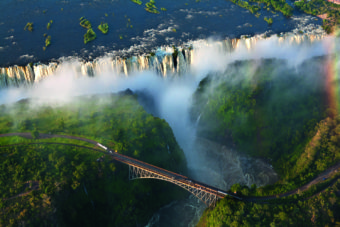 Victoria Falls in Zambia from above.