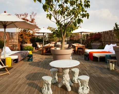Roof top terrace and bar Mama Shelter Paris