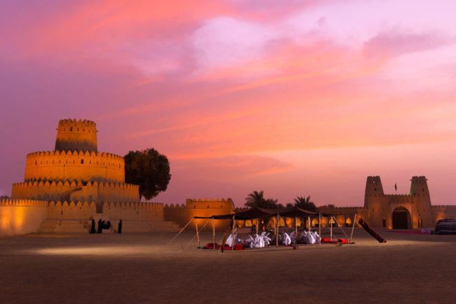 Al Jahili Fort at sunset.