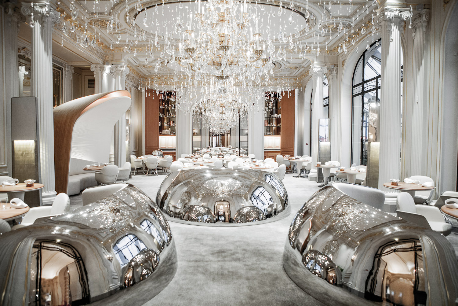 The restaurant area at Hotel Plaza Athenee, Paris.