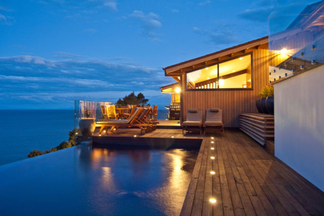Split Apple Retreat - set high on a cliff-face on the seaside border of Abel Tasman National Park, on New Zealand's South Island.