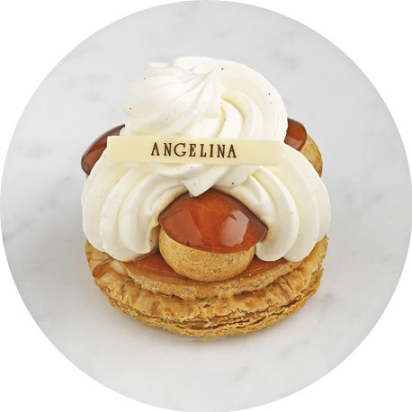 The renowned signature patisserie at Angelina - The Mont Blanc. A moorish mound of piped creme de marron (sweet chestnut puree) on a meringue base, sprinkled with icing sugar.