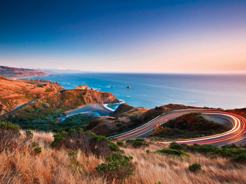 Sunset over California's Highway 1, Highway 101, Cabrillo Highway or the Pacific Coast Highway.