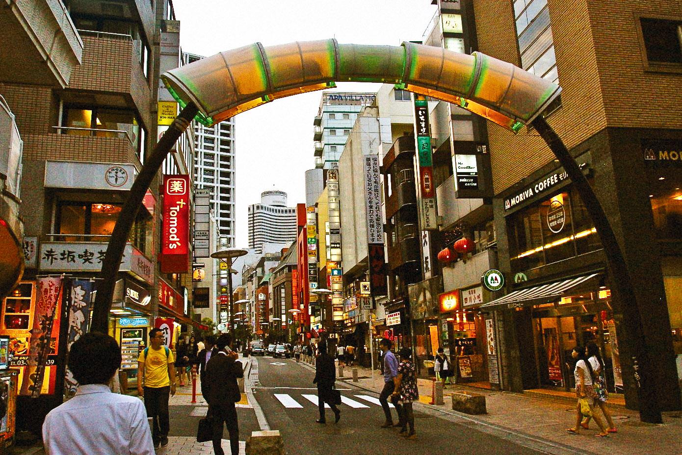 The lantern-lit Akasaka district in Tokyo.