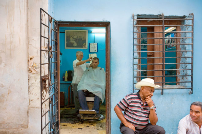 Barber shop in Havana, Cuba.