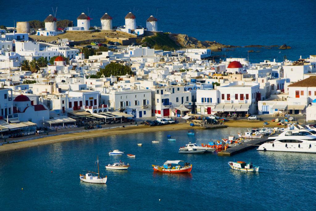 Chora port in Mykonos, Greece.