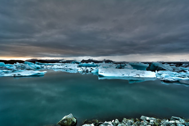 Jokulsarlon Glacial Lagoon in Vatnajokull National Park, South East Iceland.