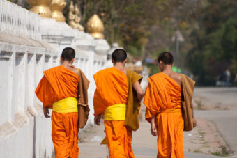 Novice monks in Laos.