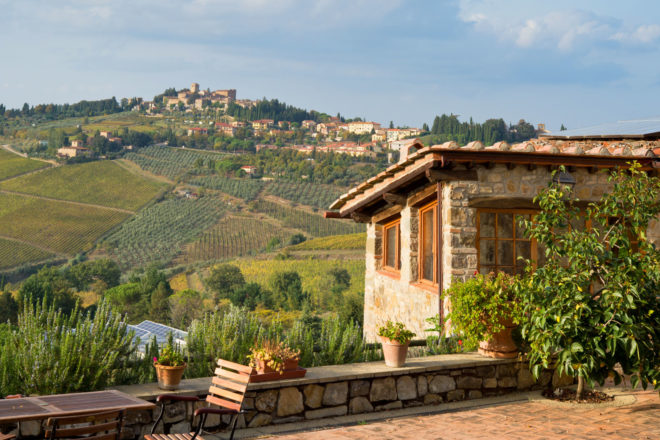 A Tuscan villa overlooking Panzano in Chianti, Italy.