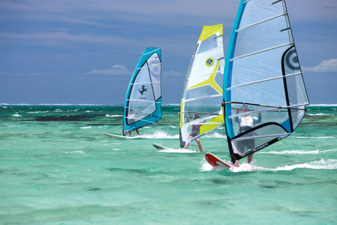 Kite surfing in Mauritius.
