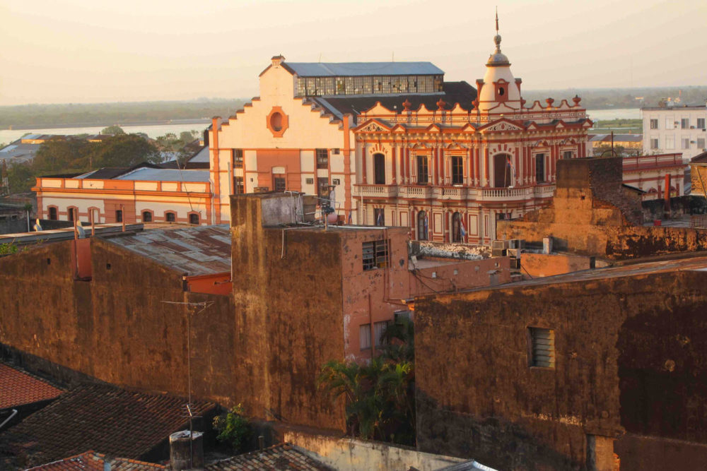 Asuncion in Paraguay at dusk.