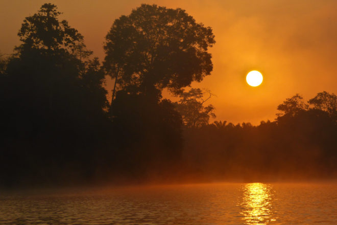 Sunrise over Kinabatangan River in Sabah, Borneo.