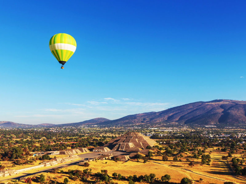 Hot air balloons above Teotihuacán, Mexico