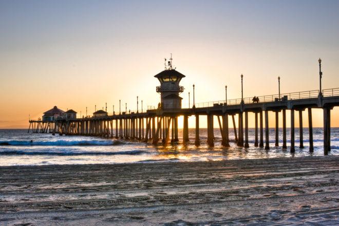 Huntington Beach pier in Orange County, USA.