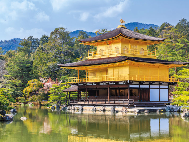 Temple of the Golden Pavilion in Kyoto, Japan.