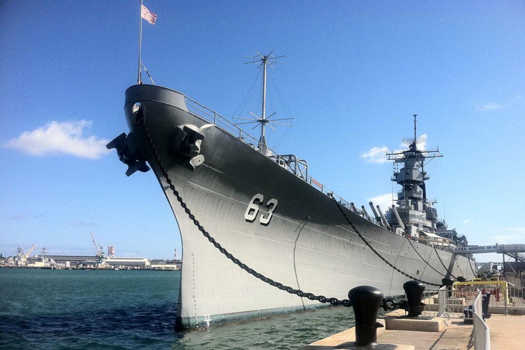 USS Missouri in Pearl Harbour, Oahu, Hawaii.