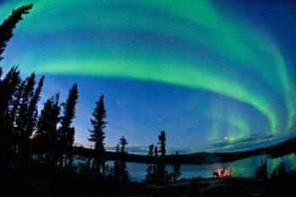 The Blachford Lake Lodge under lights