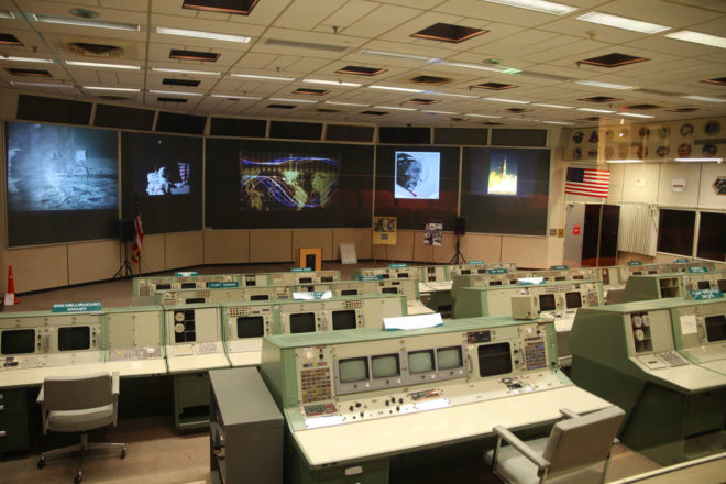 NASA's historic mission control room in Houston, USA.