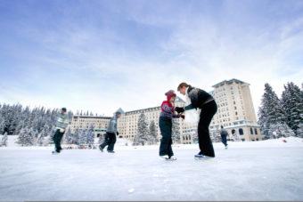A family skating