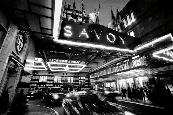 The iconic entrance to The Savoy, London.