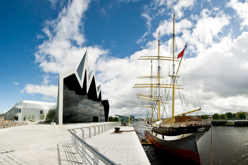 Tall Ship Glenlee berthed outside the Riverside Museum.