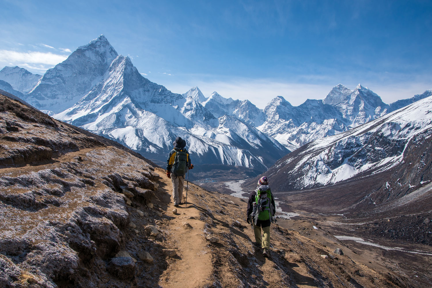 Trekkers make their way to Everest Base camp, Nepal.