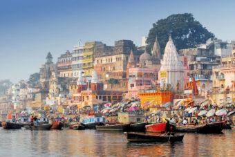 Varanasi's bustling river bank.