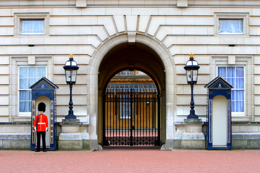 The entrance to Buckingham Palace in London.