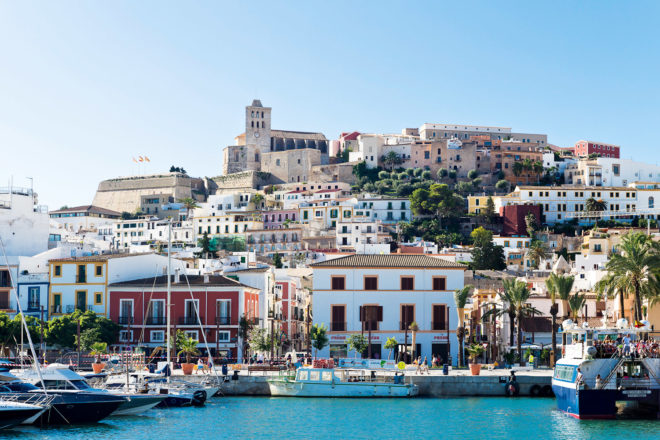 Ibiza Town as seen from the ferry to the island of Formentera.