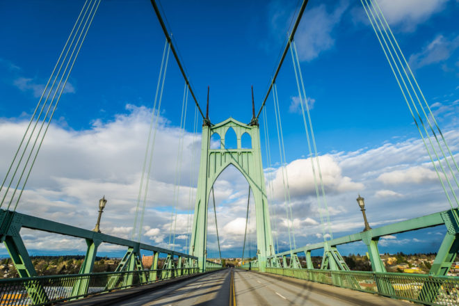 Saint John's bridge in Portland, Oregon.