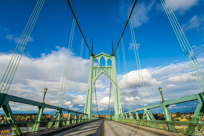 Saint John's bridge in Portland, Oregon.
