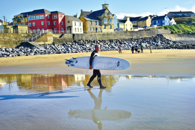 Surfer at Lahinch in Ireland.