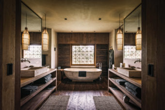 Phum Baitang hotel's guest bathrooms.