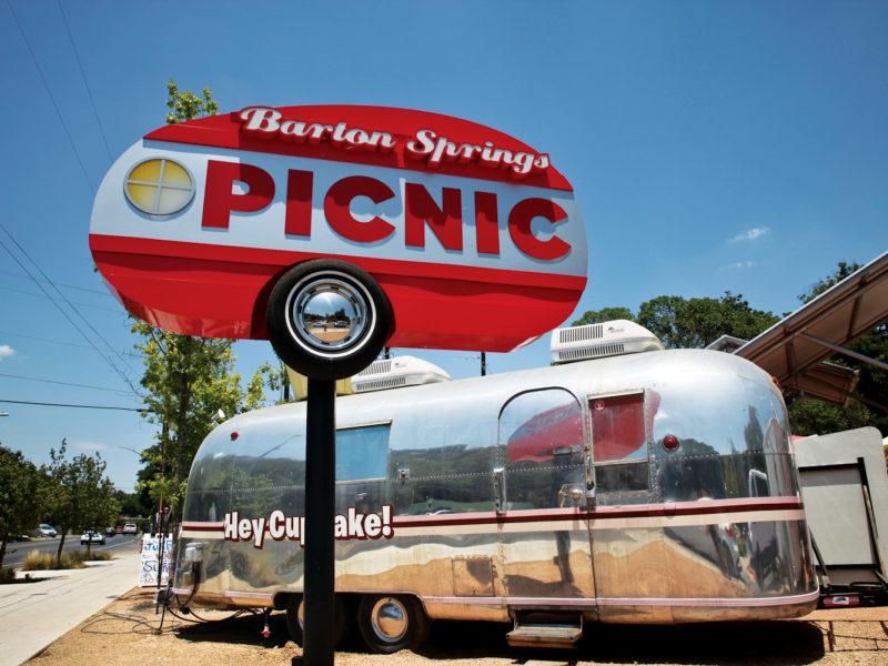 Barton Springs food truck park, Austin.
