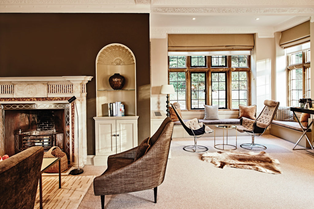 The luxe interiors at Foxhill Manor, one of three accommodation options at Farncombe Estate, outside the picturesque village of Broadway.