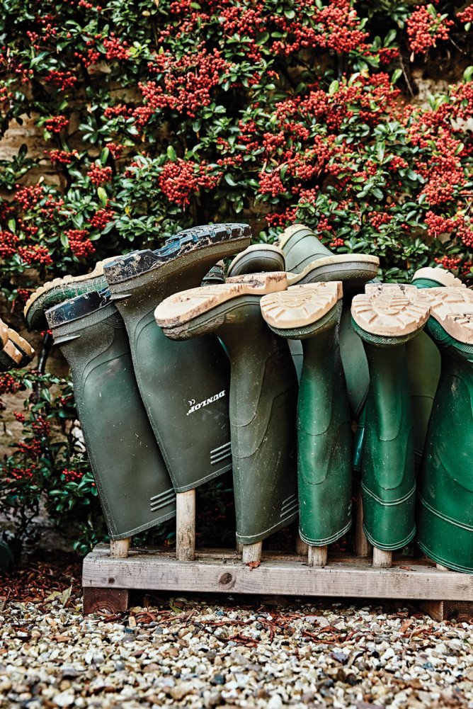 Gumboots are essential country attire in the Cotswolds.